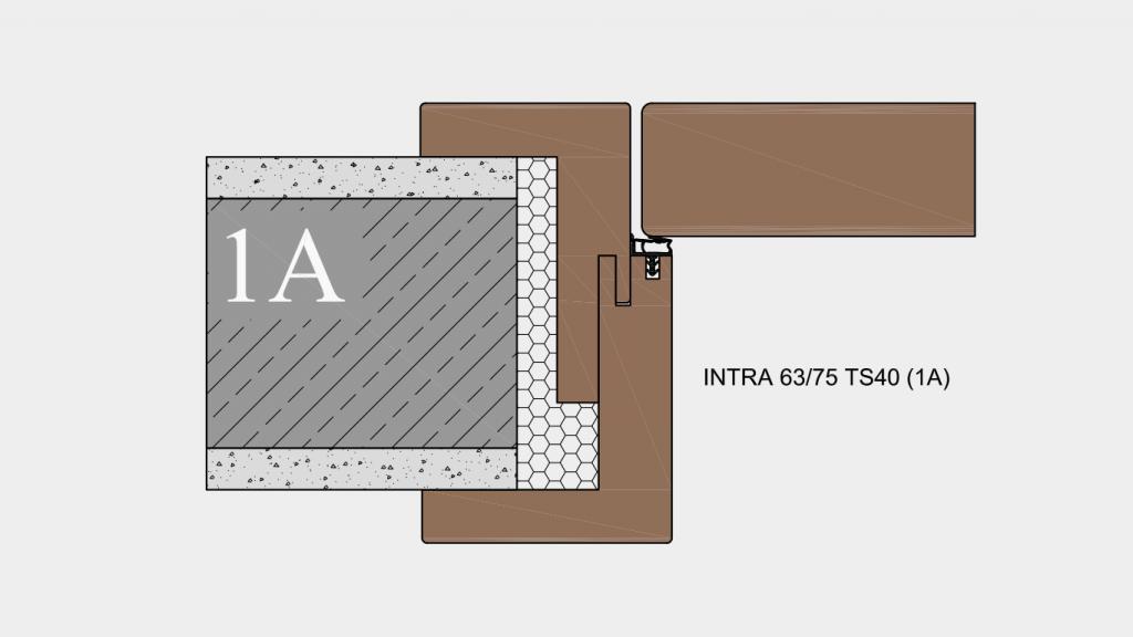 Umfassungszarge System (1A) INTRA 63-75 TS40 - Zarge auf Wand
