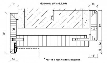 Zargensystem INVERS B80/60 TS56 smart2-Kante - Zarge auf Wand - Öffnungsrichtung nach Innen zur Wand