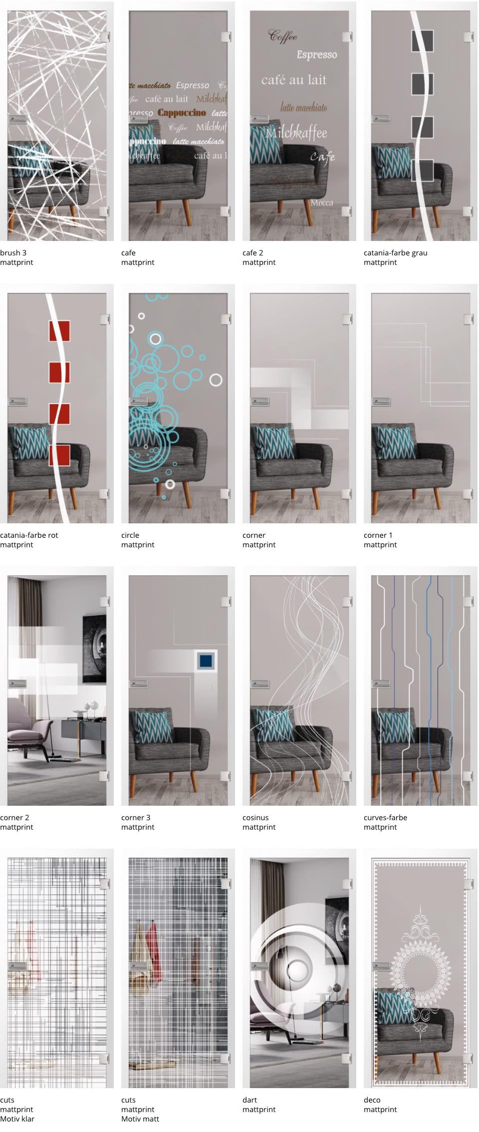 Glastüren Motive im keramischer Digitaldruck