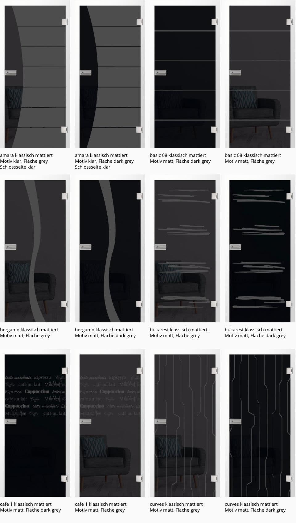 klassisch mattiert matt auf grey + dark grey