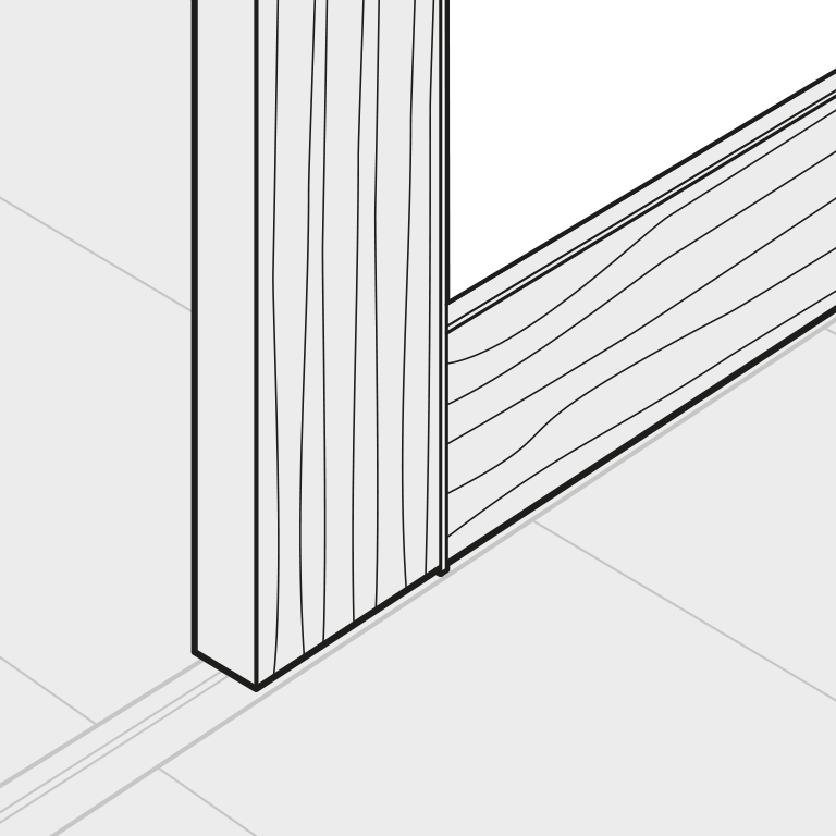 Gleittür mit Kombination aus Aluminium- und Holzrahmen