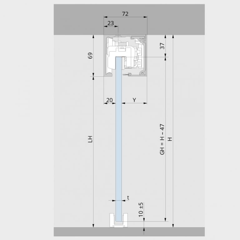 Deckenmontage für Glastüren