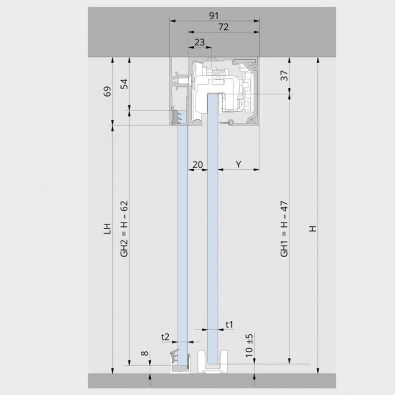 Deckenmontage für Glastüren mit Seitenteil