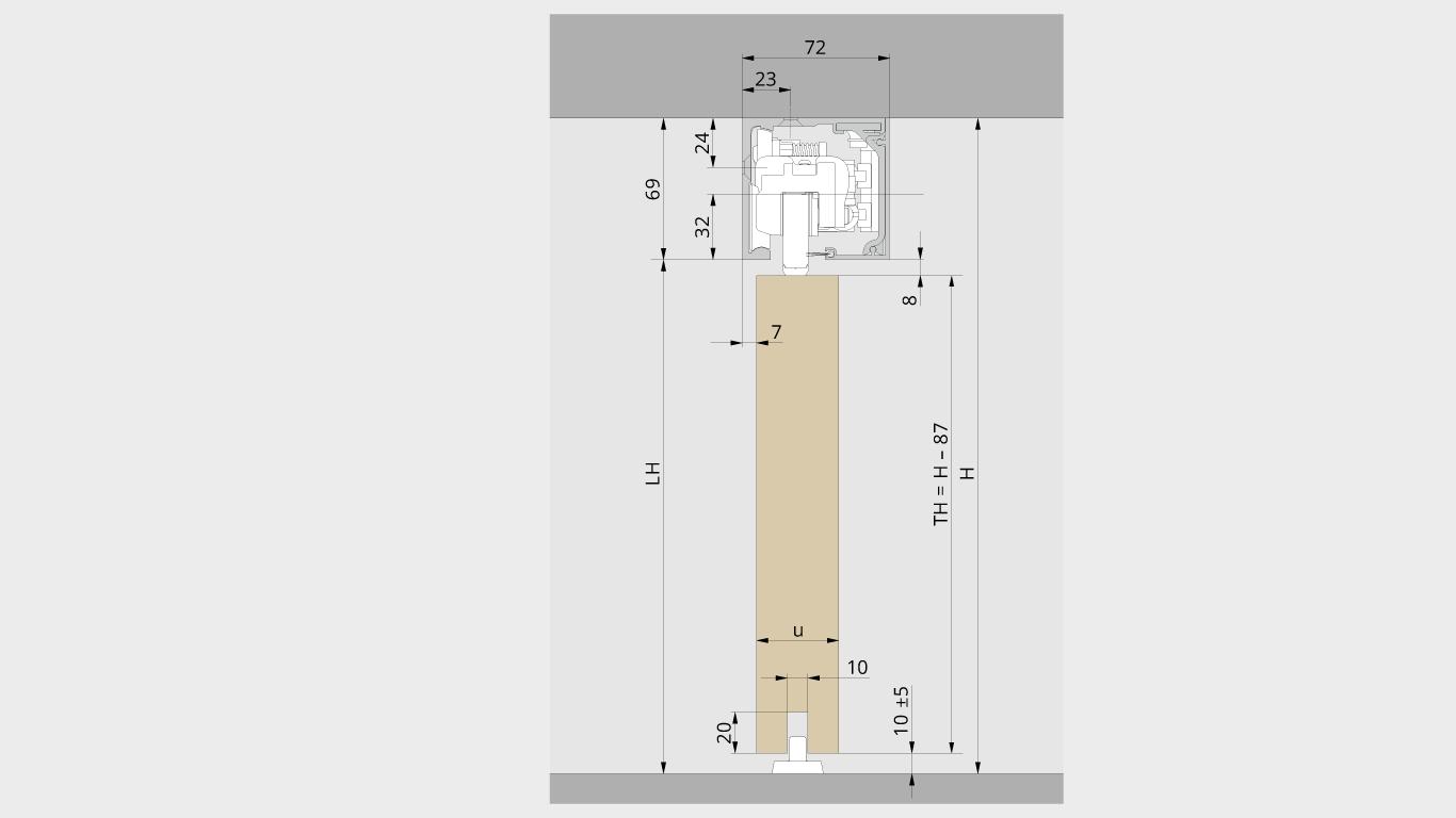 Deckenmontage für Holztür