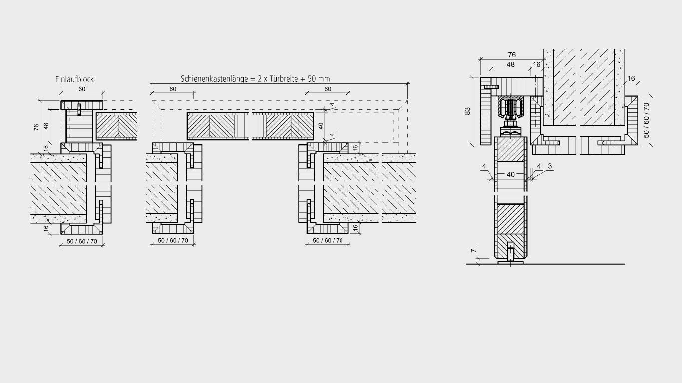 Schiebetürzargen auf Wand für Holztüren
