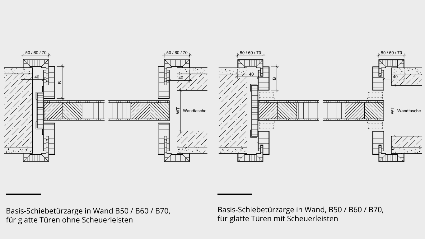 Basis-Schiebetürzargen – mit/ohne Scheuerleiste