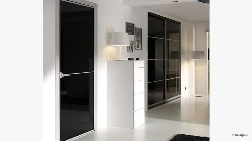 Zimmertür Swing | Tür und Zarge: Aluminium | Füllung: VSG lackiert nach Standardfarben | Sprossen: aufgesetzt